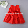 6 Month Red Color Gown Toddler Embroidered Lace Flower Dress Casual Infant Girl Dress with Cappa