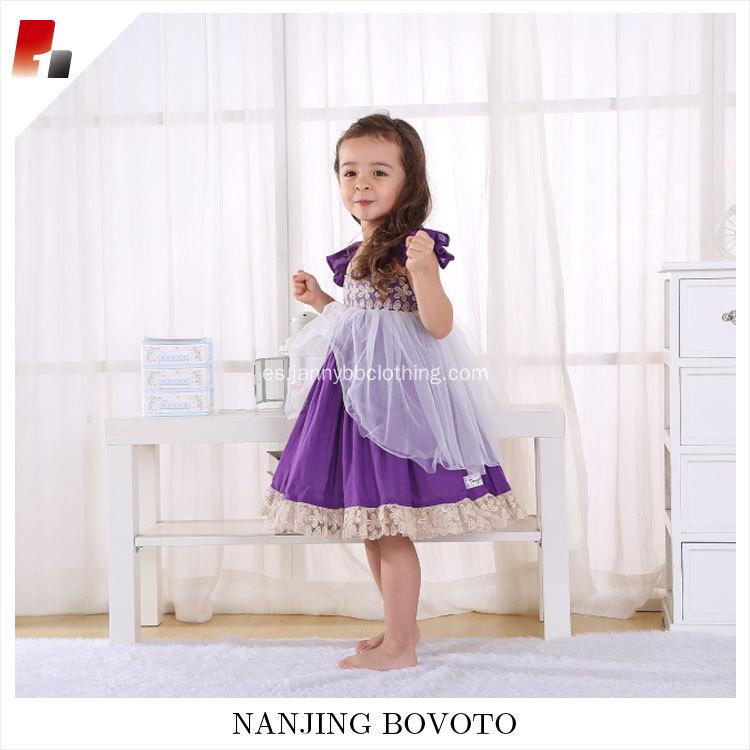 Party girl dress embroidered lace purple tulle