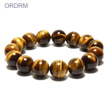 Mens mata harimau gemstone stretch bead bracelets