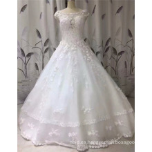 2017 Princess sin mangas de encaje vestido de bola Appliqued Graceful Wedding Dress