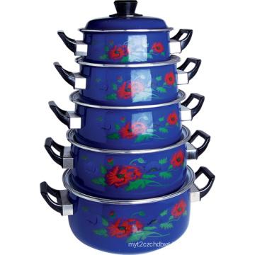 5PCS Enamel Casserole Pot with Deep Blue on Size 16-24cm