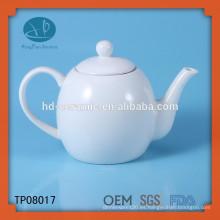 Pote de té de porcelana blanca, tetera de cerámica para restaurante, LFGB, FDA, CIQ, CE, SGS Certificación y Eco-Friendly