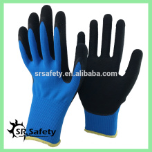 SRSAFETY 13gauge nylon double coated latex on palm, foam lates working gloves, best selling in the world