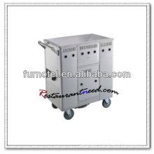 Chariot de vapeur de chariot de cuisine d'acier inoxydable de S104