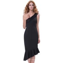 Grace Karin Sexy Asymmetric mujeres de un hombro caderas-Wrapped Bodycon lápiz vestido de sirena GK001066-1