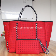 China for Shoulder Beach Bags Red perforated foldable beach tote bag supply to South Korea Manufacturers