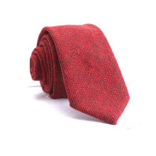 Mens Custom Herringbone Twill Silk Blended Red Yellow Wool Neckties