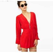 OEM Latest Women Red Lady Chiffon Jumpsuit Long Sleeve Ladies Romper