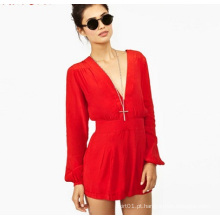 OEM Últimas Mulheres Red Lady Chiffon Jumpsuit Long Sleeve Ladies Romper