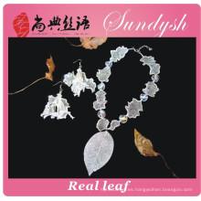 Conjunto de joyería de moda hecha a mano de collar y pendiente de hoja con cuentas 2015