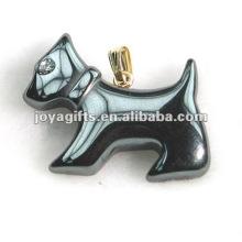 Подвески для гематитовых собак с бриллиантами и золотом