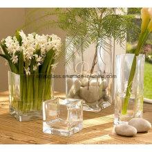 Vase à fleurs en verre transparent en forme de carré