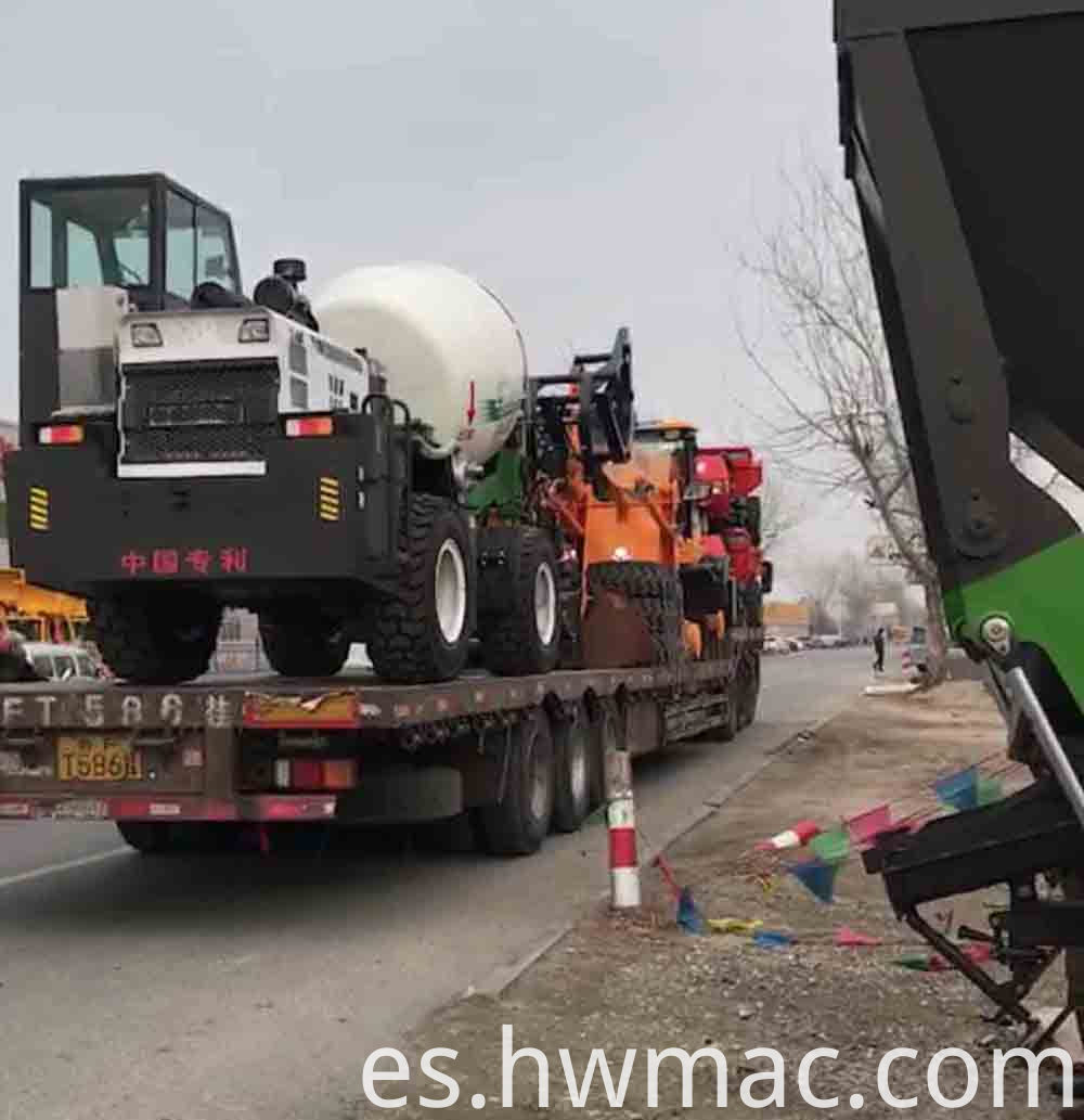 self loading concrete mixer truck delivery photo
