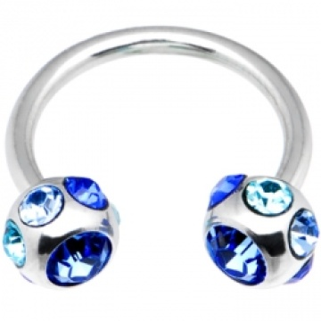 14 Gauge Blue 7 Gem Horseshoe Circular Barbell