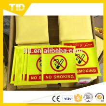 Custon Panneau d'avertissement réfléchissant non fumeur / signe de danger