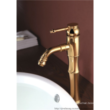 Tall Style Artistic Golden Polished Basin Faucet