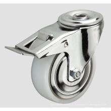 Roulette en nylon industriel à roulettes de 5 pouces avec frein latéral