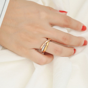 Interlocking Tri Color Stackable Rings Band För Hennes