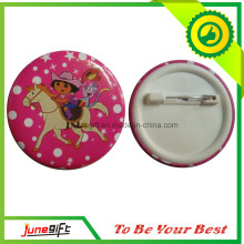 Fairy Tale Character Tin Button Badge in Pink Under Surface