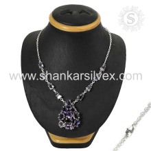 Amethyst Silver Jewelry Handmade Sterling Silver Necklace Jaipur Silver Jewelry Manufacturing