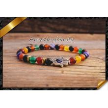 Arco iris piedras de colores joyas pulsera de moda para hombre (CB049)