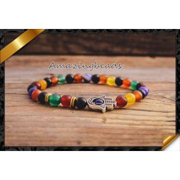 Rainbow Colorful Stone Beads Fashion Jewelry Bracelet for Male Female (CB049)