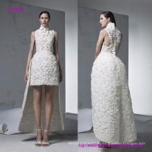 Новый современный стиль высокая декольте рукавов короткое спереди платье с длинной юбкой сзади