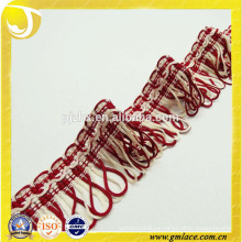 Red Tassel Trim Franja Cortina Fringe Lace tapicería cinta Trim