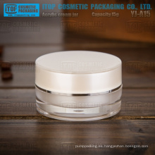 Cilindro de acrílico material doble capa de pmma importado YJ-A15 15g redondo buena calidad 15ml frasco plástico