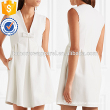 White Bow Embellished Faille Mini Dress OEM/ODM Manufacture Wholesale Fashion Women Apparel (TA7118D)