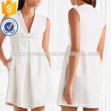 Белый бант украшен шелковой ткани мини-платье OEM и ODM Производство Оптовая продажа женской одежды (TA7118D)