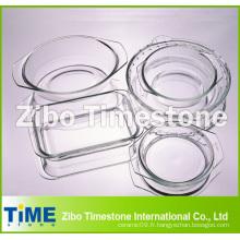 Crystal Clear Hot Sale Assiette en verre à base de borosilicate, plat de grillage en verre (TM011501)