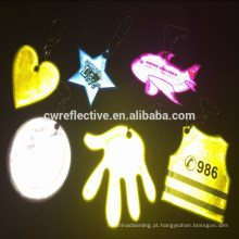brilho animal no chaveiro reflexivo escuro do pvc para crianças