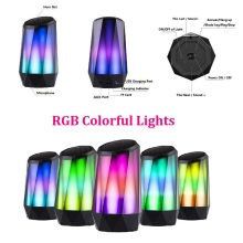 Bluetooth 4.2 Crystal Speaker Colorful LED Lights Stereo