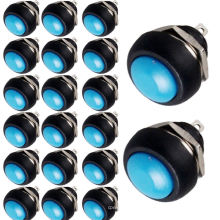 Interruptor de alavanca 20 x azul 12mm mini momentânea on / off rodada botão interruptor