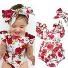 Wholesale Toddler Newborn Print Jumpsuit +Headband Spring Summer Colorful Sleeveless Baby Romper