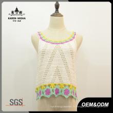 Femmes Fashion Acrylic Crop Crochet Gilet