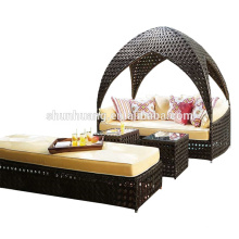 hotel used PE rattan daybed sofa sets wicker lounge chaise