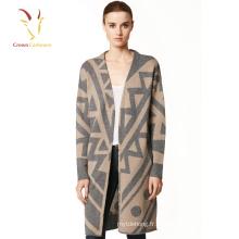 Printemps Automne V Cou Boutons Cachemire Femmes Tricot Long Cardigan Chandails Manteau