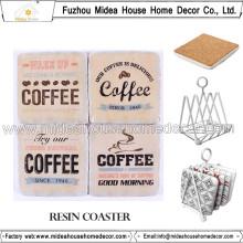 Venta al por mayor posavasos de encargo de la resina y práctico de costa del café para la decoración casera