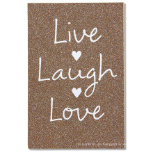 Tarjeta de boda de American Greetings Live Laugh Love con brillo