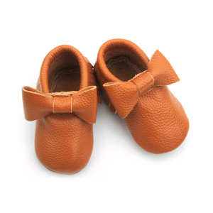Brown Leather Moccasins Wholesale Nette Babyschuhe