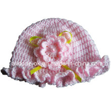 OEM ODM Hand Crochet Flower Hat with Lace Flower