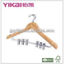 Colgador de bambú hermoso de la ropa con los cilps del metal para la ropa de la manera