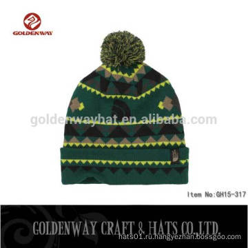 2016 Дешевые шапочки Beanie Custom Pom-pom шерсть трикотажные шапочка Hat
