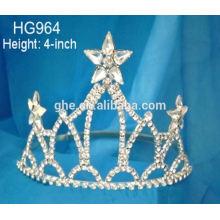 Tiara de la corona de la tiara del partido de la tiara de la venta al por mayor de la joyería para los cabritos tiara llevada que destella de julio 4
