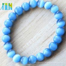 bracelet en pierre de fantaisie de forme ronde de fantaisie de forme ronde en verre bleu oeil de chat