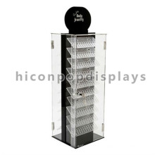 Acrylic Double-Side Fashion Store Display Case For Jewelry, Cheap Rotating Body Jewelry Display Cases