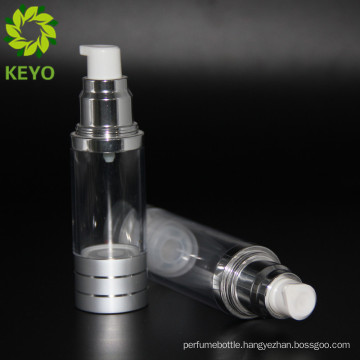 Guangzhou plastic bottle glass bottle 2 oz airless pump bottle with transparent color