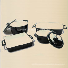Juego de utensilios de cocina de hierro fundido 4PCS en color negro